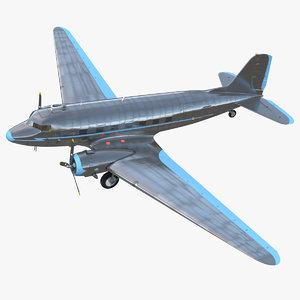 vintage airliner passenger air 3D model