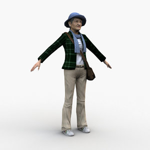 3D middle-aged woman rigged model