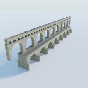 3D aqueduct pont du gard model