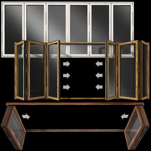 folding stained glass wooden doors 3D model