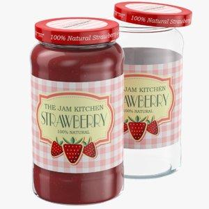 3D model strawberry jam glass jar