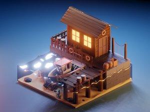 3D model isometric dock