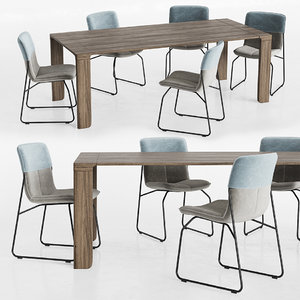 dinning set chair dining table 3D model