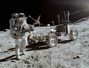 3D space rover moon ground