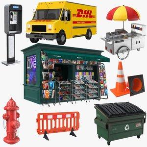 3D model real street elements truck
