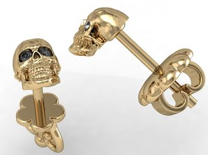 3D stud earring human scull