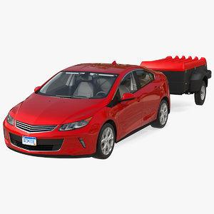 3D enclosed mini cargo trailer model