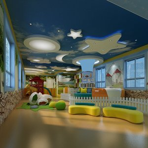 3D model interior scene kindergarden playground