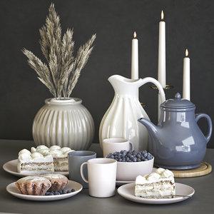 set dishes cake muffins 3D model