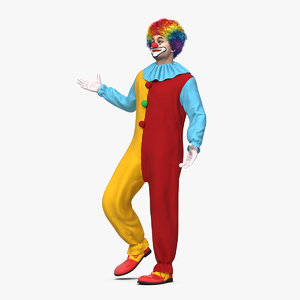 funny clown costume standing 3D model