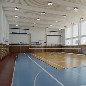 3D basketball gym volleyball model