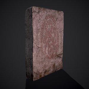 3D grave stone version 3 model