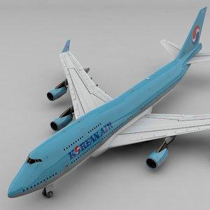 3D boeing 747 korean air