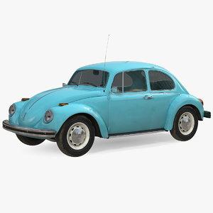 3D volkswagen beetle 1966 blue