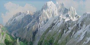 3D model mountain landscape mont blanc