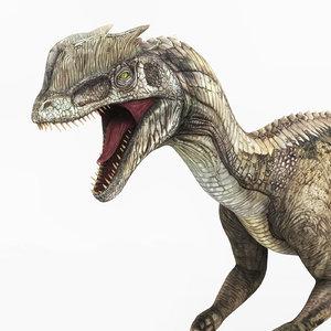 3D dilophosaurus dinosaur pbr