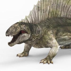 3D model dimetrodon dinosaur pbr