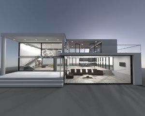 modern exterior interior house 3D model