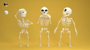 rigged cartoon skeleton model