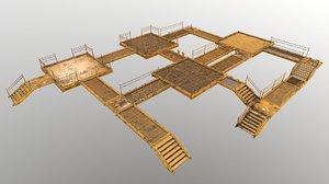 ground stair set 3D model