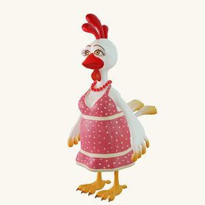 3D model stylized cartoon chicken