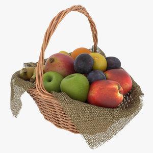 3D fruit basket realistic