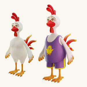 stylized cartoon rooster 3D
