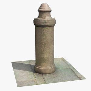 sidewalk pillar stone guard 3D
