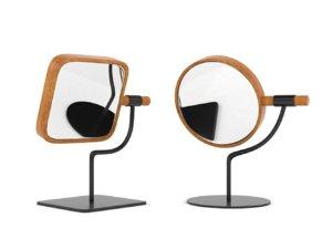 wooden makeup mirror 3D model