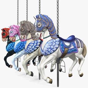 carousel horse set 3D model