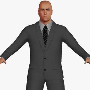 adult white male suit 3D model