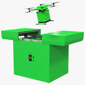 3D delivery drone station quadcopter