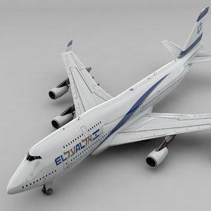 3D boeing 747 el al model