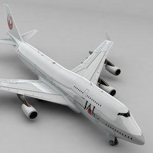 boeing 747 japan airlines 3D model