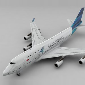 3D boeing 747 garuda l828