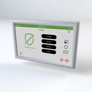 3D alarm keypad panel model