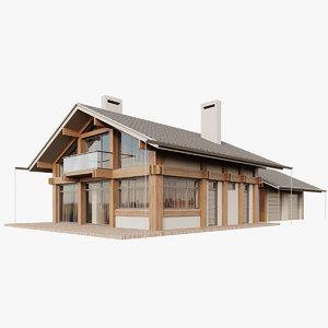 3D modern house fachwerk model