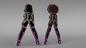 neon sign lights 3D model