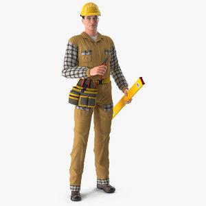 builder standing position 3D model