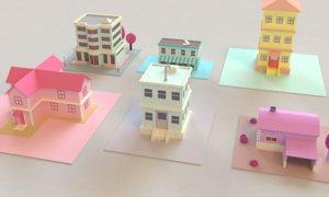 3D houses cartoon