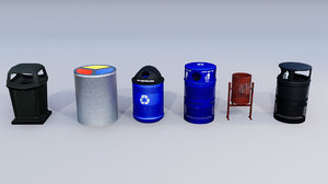 recycling bins park 3D model