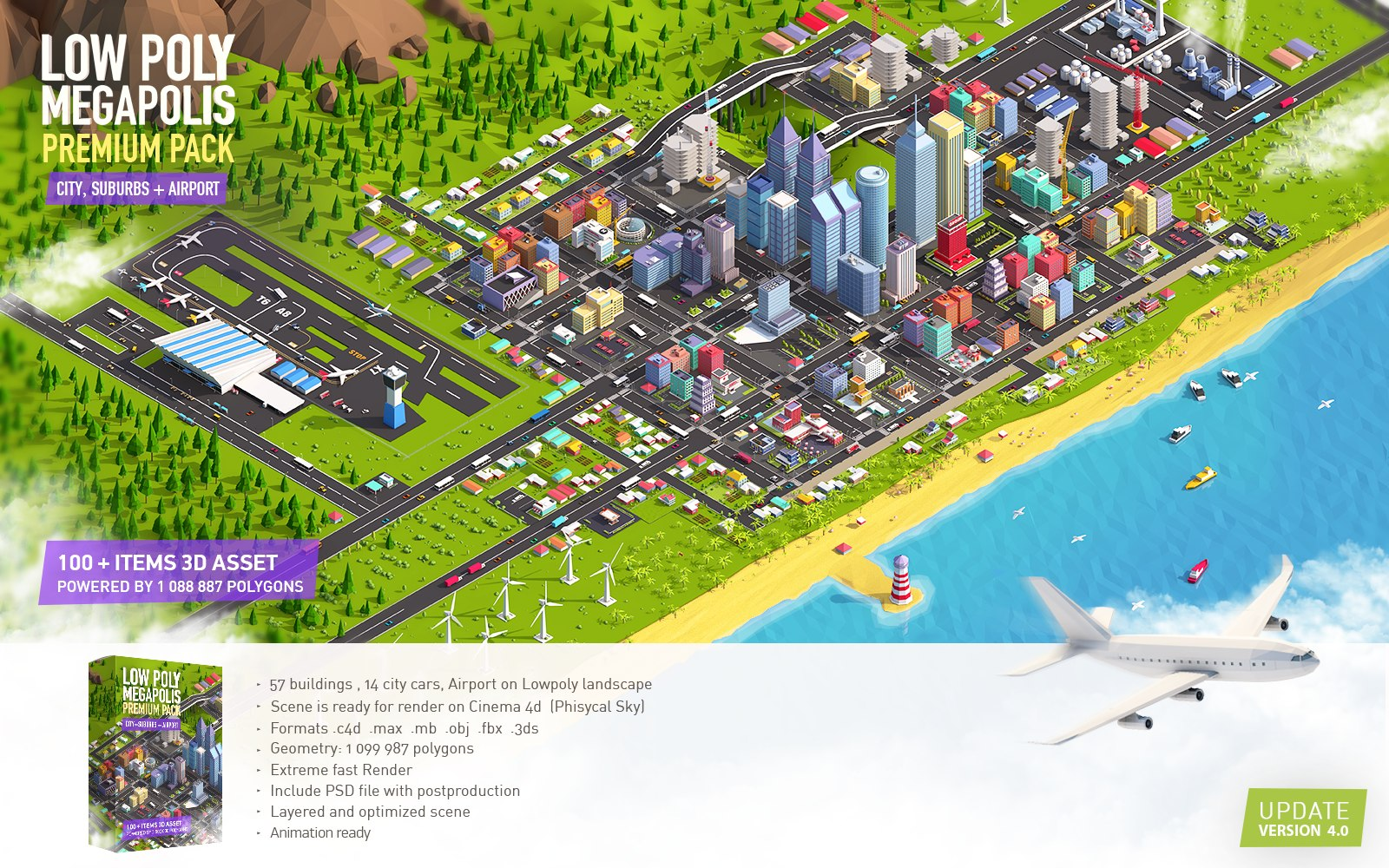 megapolis buildings airport landscape model