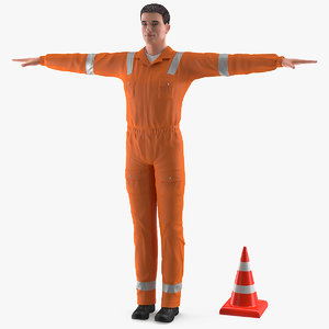 3D model road worker t-pose works