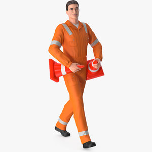 road worker walking pose 3D model