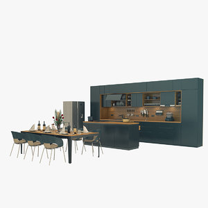 3D kitchen furniture set
