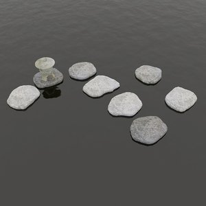 rocks temple tower floating 3D