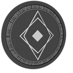 ether zero black coin 3D model