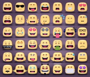 rounded square emoticons model