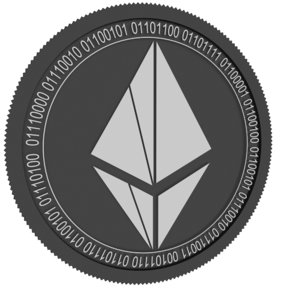 ether-1 black coin 3D model
