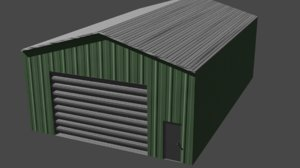 3D industrial shed warehouse building